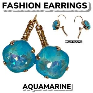 Fashion Aquamarine Cushion Cut Earrings
